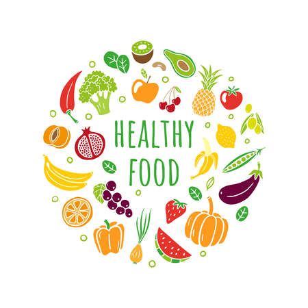 Hand-drawn healthy food in an original organic style. Different fruits and vegetables with editable text. Vector illustration isolated on white background. Great for banners, sites, menu design, packaging, cooking book or advertising.