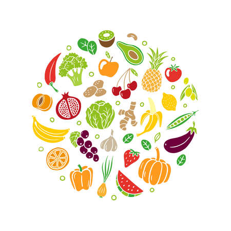 Hand-drawn healthy food. Fruits and vegetables in an original organic style. Vector illustration isolated on white background. Great for banners, sites, menu design, packaging, cooking book or advertising.