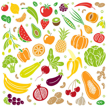 Trendy hand-drawn healthy food. Fruits and vegetables in an organic style isolated on white background. Vector illustration for banners, sites, menu design, packaging, cooking book or advertising.