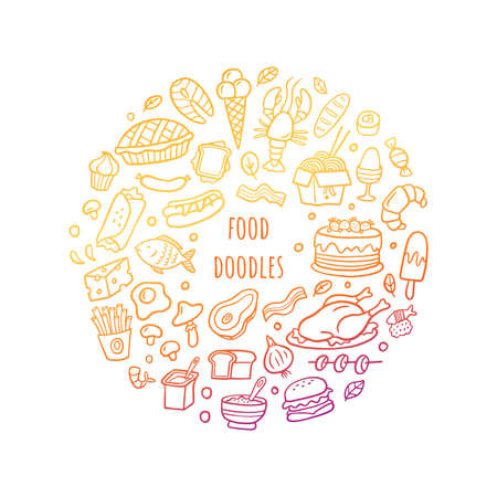 Cartoon different kinds of fresh food with text. Hand drawn gradient set. Vector illustration good for site, menu, flyer or banner. 向量圖像