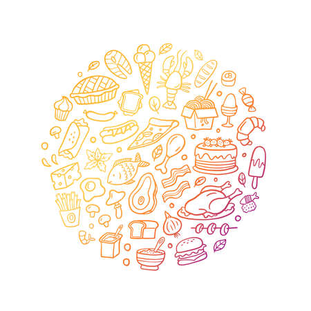 Hand-drawn doodle burgers, meat, fish, vegetables, cakes, noodle, and other dishes icons set. Gradient vector food illustration. Good for site, menu, flyer or banner. 向量圖像