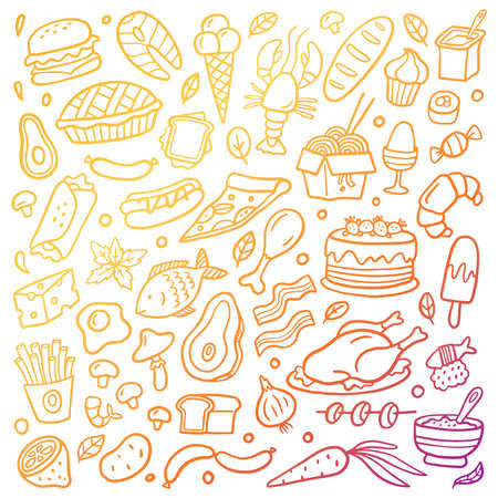 Gradient hand-drawn food poster. Colorful illustration with different dishes. Vector set with burgers vegetables, cakes, fruits, meat,  fish and sweets. Good for site, menu, flyer or banner.