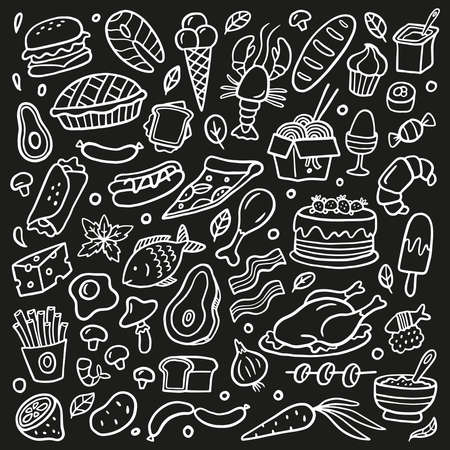 Black and white doodle set with food. Seafood, meat, burgers, noodle, vegetables and sweets. Vector hand-drawn food illustration. Good for site, menu, flyer or banner.