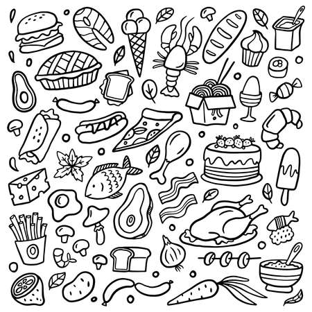 Black and white food poster. Hand-drawn illustration with many different dishes. Vector set with vegetables, burgers, noodle, fruits, meat, and seafood.