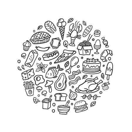 Black and white doodle meat, fish, vegetables and dishes icons set. Vector hand-drawn illustration. Fresh food art is good for site, menu, flyer or banner.