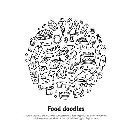 Cartoon different kinds of fresh food with text. Hand-drawn Vector illustration. Doodle set for menu design