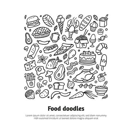 Black and white hand-drawn food poster. Doodle illustration with different dishes. Vector set with burgers, pizza, sausage, seafood, noodle, vegetables, cakes, ice cream, fruits, meat, fish, and sweets. Good for site, menu, flyer or banner.