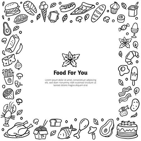 Hand-drawn food stylized frame. Black and white doodle illustration with many different dishes. Vector set good for site, menu, flyer or banner.