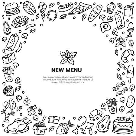 Hand-drawn doodle food with text. Stylized black and white meat, turkey, burgers, noodle, vegetables, seafood, and sweets. Vector food illustration good for menu, flyer, site or banner.