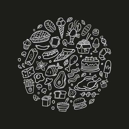 Hand-drawn doodle set with food. Black and white fish, meat, burgers, turkey, vegetables, noodle, seafood, ice cream, cake, and other dishes. Vector food illustration. Good for site, menu, flyer or banner.