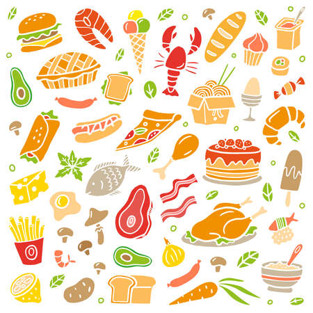 Hand-drawn food poster. Colorful illustration with many different dishes. Vector set with vegetables, fruits, meat, and fish. 向量圖像