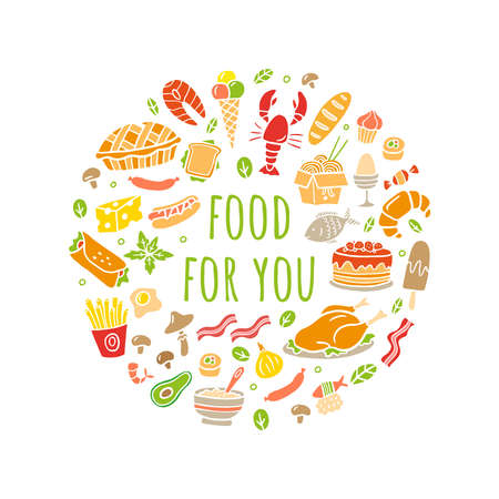 Cartoon different kinds of fresh food with text. Hand-drawn set for menu, site or flaer design. Vector illustration