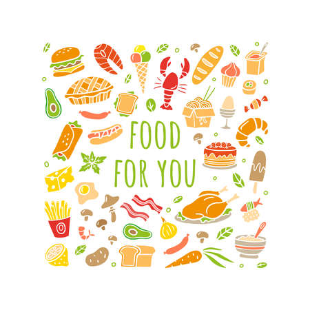 Hand-drawn set with food. Colorful fish, meat, burgers, vegetables and sweets. Vector food illustration. Good for site, menu, flyer or banner.