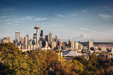 View of Seattle, showing the Space Needle and downtown, with Mount Rainier in the background  photo