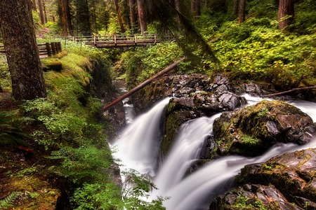 sol duc river: Waterfall at Sol Duc Falls in the National Park of Washington State  Landscape format