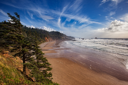 state of oregon: Indian Beach at Ecola State Park on the Oregon coast. Stock Photo
