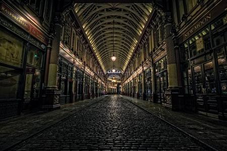 人土曜日の夕方の空、ロンドンのロンドン、イギリス - 2014 年 10 月 4 日: リーデン ホール市場。これは最初のハリーポッターの映画のための場所と