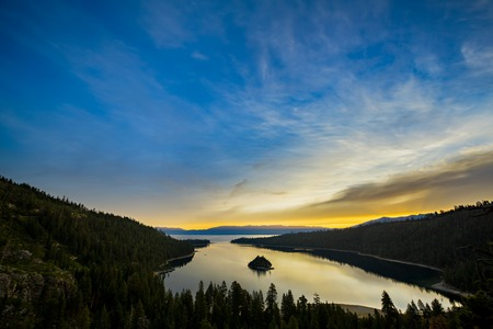 Scenic view of Emerald Bay, Lake Tahoe at sunrise.