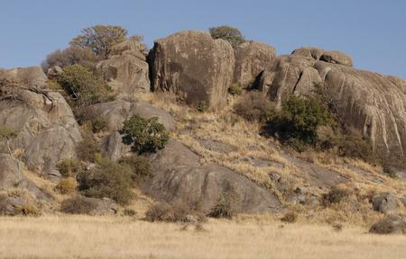 Beautiful tanzanian rocks against a blue sky