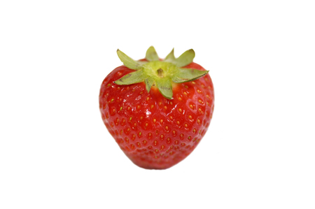 Strawberry on an isolated background with green leaf