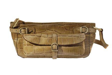 Nice light brown envelope handbag isolated on a white background Stock Photo
