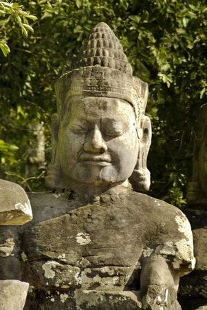 Sculpture near the southern entrance of Angkor Thom in Cambodia, Siem reap