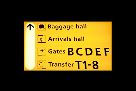 Airport sign to the baggagehall, arrivals or transfer on Schiphol Airport