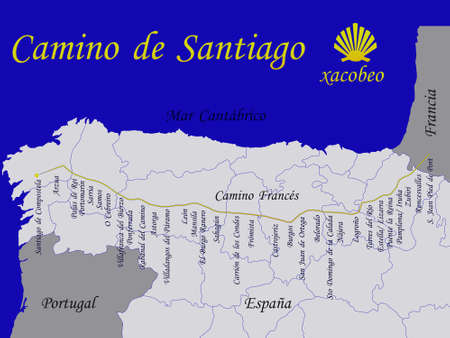 santiago: Map of st James way