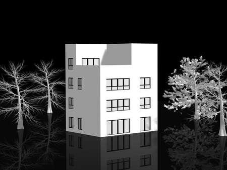 family outside house: white 3d house Illustration