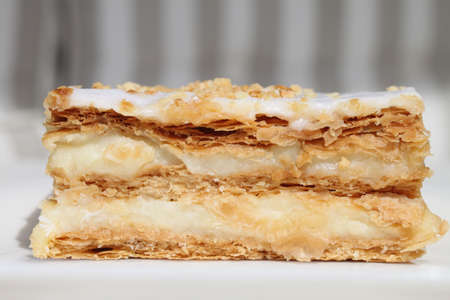 millefeuille of puff pastry and cream photo