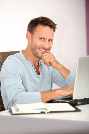 Closeup of man working at home Stock Photo - 7577470