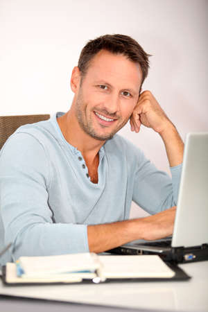 Closeup of man working at home Stock Photo - 7577507