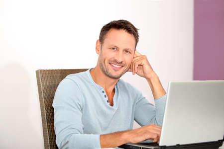 Closeup of man working at home Stock Photo - 7577469