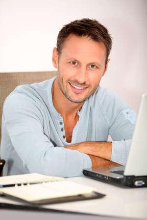 Closeup of man working at home Stock Photo - 7577517