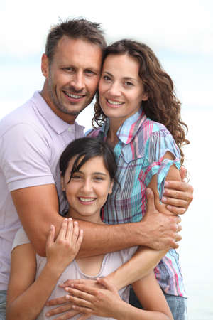 portrait girl: Closeup of family in vacation