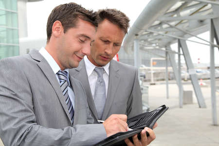 sales bank: Businessmen in a business meeting away from the office