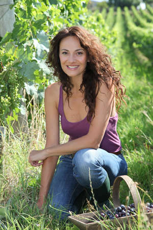 40 year old: Smiling woman sitting in vineyrad during vintage season