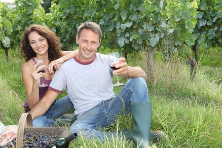 Couple testing wine in vineyard photo