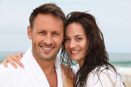 40 years old man: Closeup of happy couple in spa treatment
