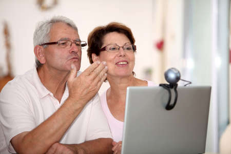 Senior couple and videocall Stock Photo - 7696234