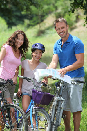 Family on a bicycle ride photo