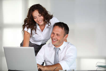 finance director: Business team working on project Stock Photo