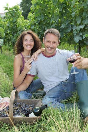 wine testing: Happy vinegrowers testing wine in vineyard