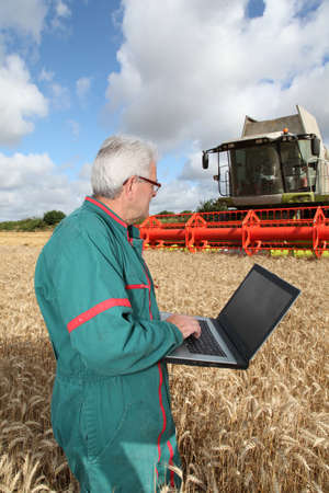 Farmer in wheat field photo