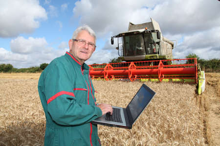 Farmer with laptop in wheat field photo