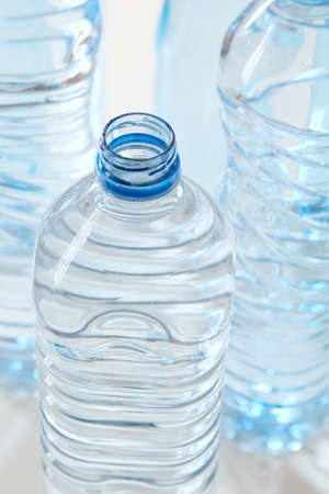 Closeup of plastic bottles of water photo