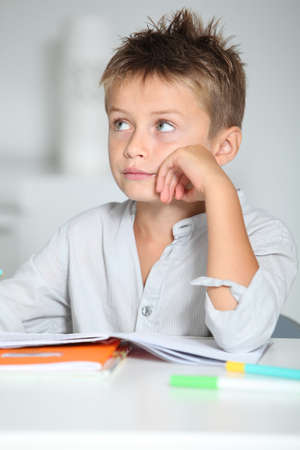Little boy doing his homework photo