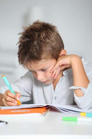 Little boy doing his homework photo