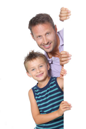 Closeup of man with little boy showing message photo