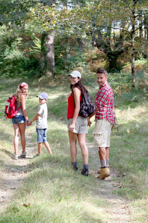 rambling: Parents and children on a hiking day